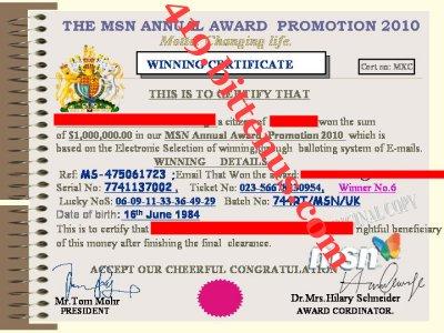 MSN WINNING CERTIFICATE